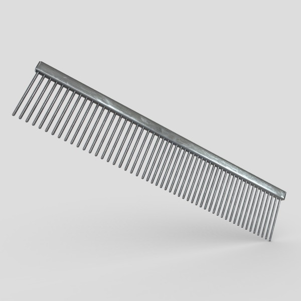Steel Hair Comb - low poly PBR 3d model