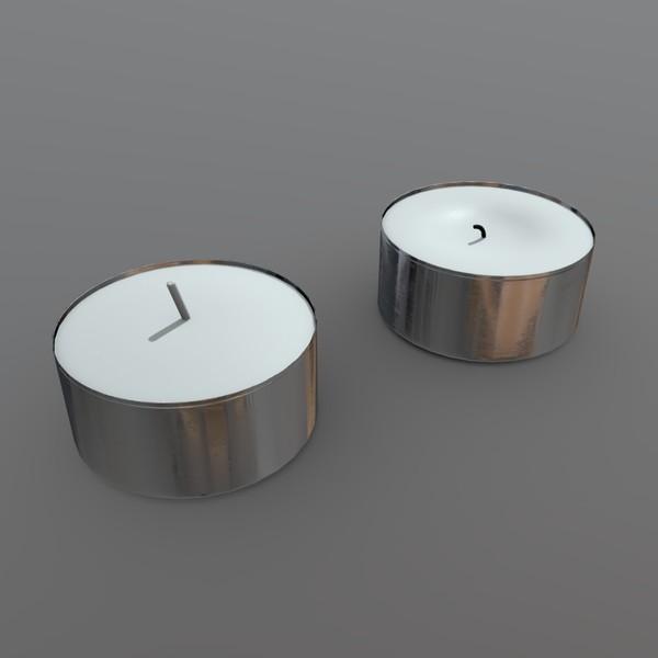 Tea Light - low poly PBR 3d model