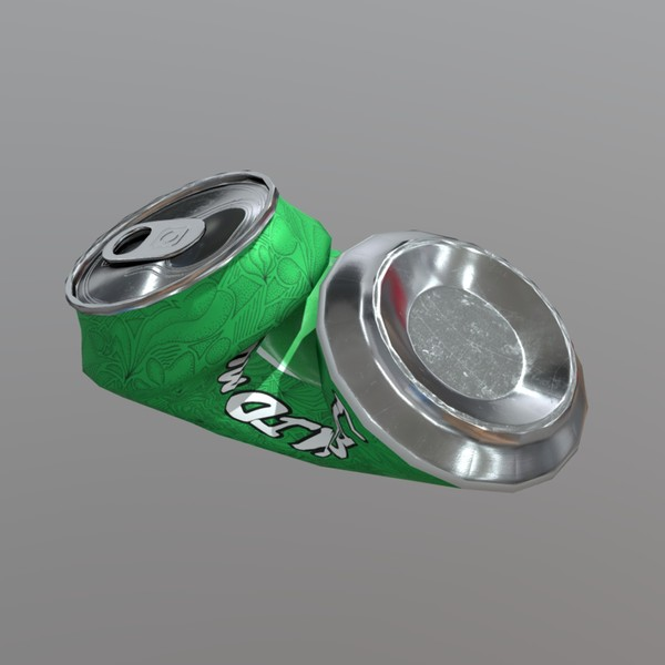 Beverage Can Deformed 2 / Liquid Mushroom - low poly PBR 3d model