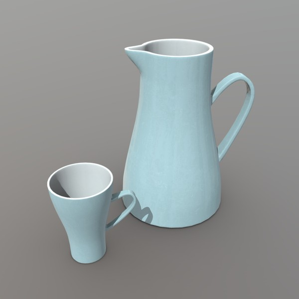 Jug and Mug - low poly PBR 3d model