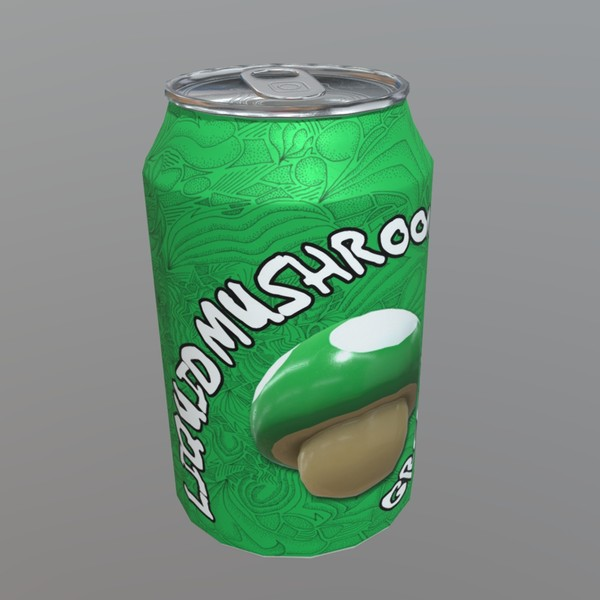 Beverage Can / Liquid Mushroom - low poly PBR 3d model