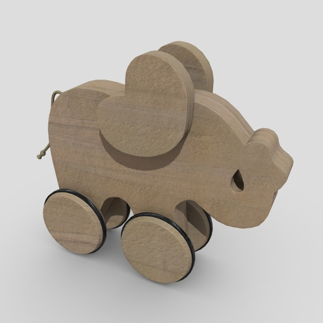 Wooden Elephant Toy - low poly PBR 3d model