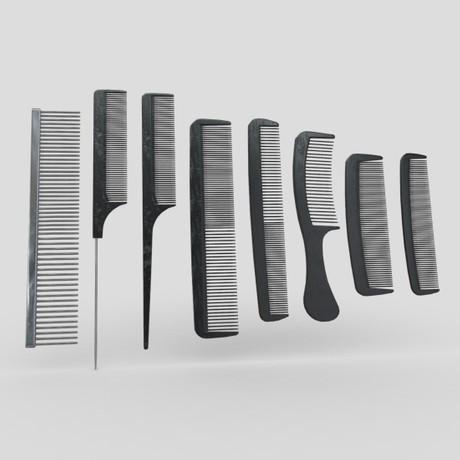Hair Comb Set - low poly PBR 3d model