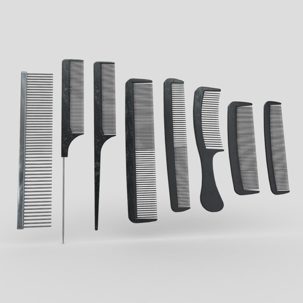 Hair Comb Set - low poly PBR 3d model