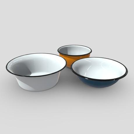 Enamel Bowl Set - low poly PBR 3d model
