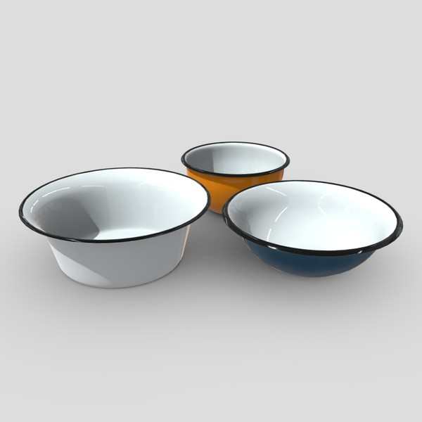 Enamel Bowl Set - low poly PBR 3d model