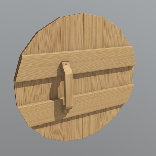 Wooden Shield - low poly PBR 3d model