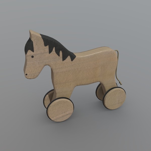 Horse on Wheels - low poly PBR 3d model