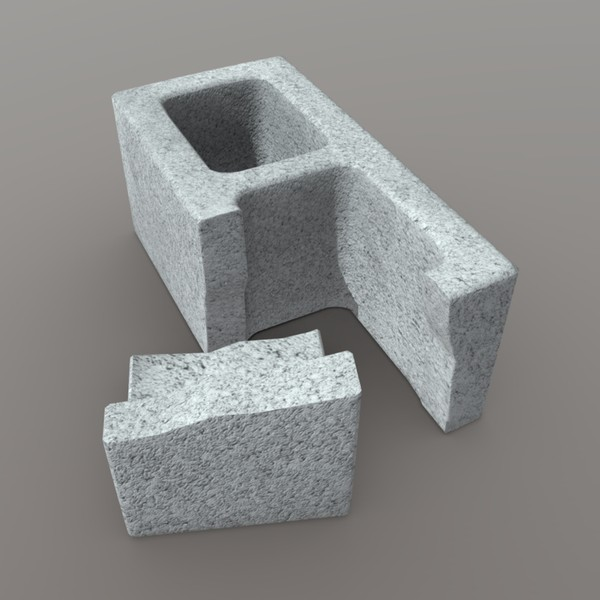 Cinder Block Broken - low poly PBR 3d model