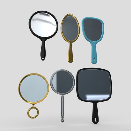 Hand Mirror Pack - low poly PBR 3d model