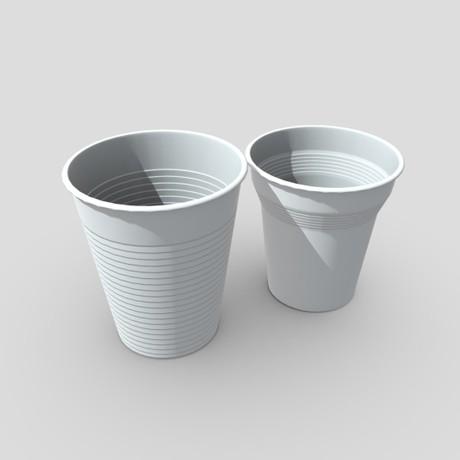Plastic Cup Set - low poly PBR 3d model