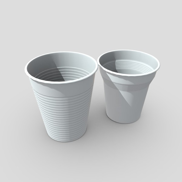 Plastic Cup Set - low poly PBR 3d model