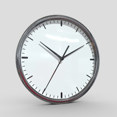 Wall Clock 2 - low poly PBR 3d model