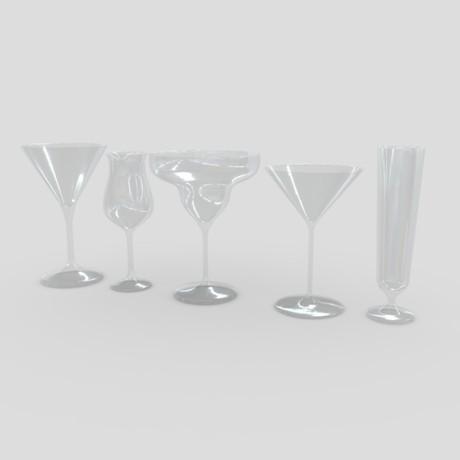 Cocktail Glass Set 3 - low poly PBR 3d model