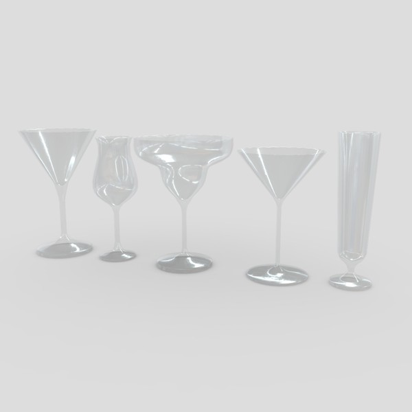 Cocktail Glass Set 3 - low poly PBR 3d model
