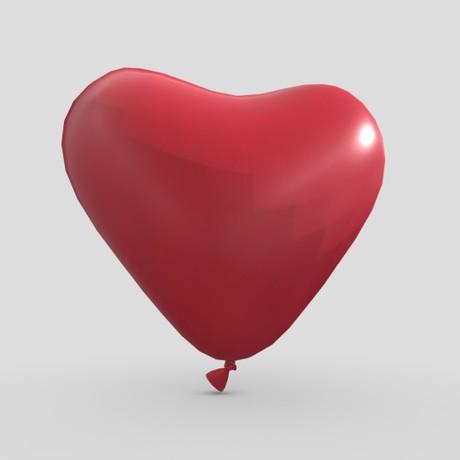 Balloon Heart - low poly PBR 3d model