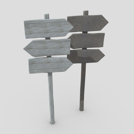 Wooden Sign 3 - low poly PBR 3d model