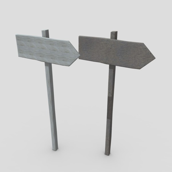 Wooden Sign 1 - low poly PBR 3d model