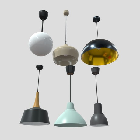 Ceiling Lamp Pack - low poly PBR 3d model