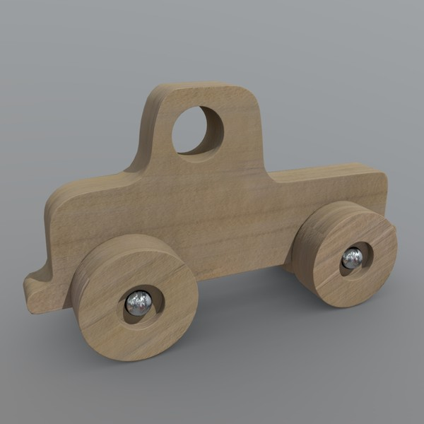 Wooden Car Toy 2 - low poly PBR 3d model