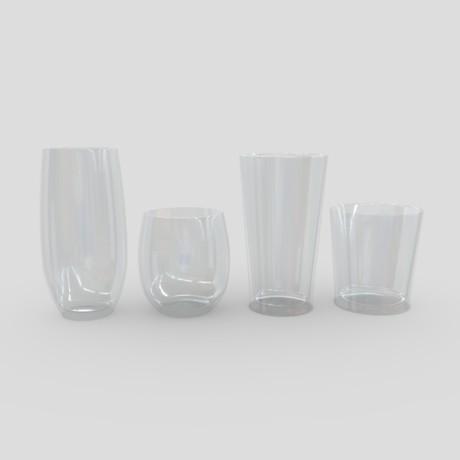 Glass Set 2 - low poly PBR 3d model
