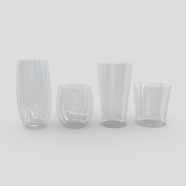 Glass Set 2 - low poly PBR 3d model