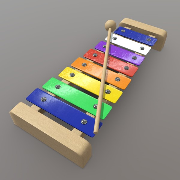 Xylophone - low poly PBR 3d model