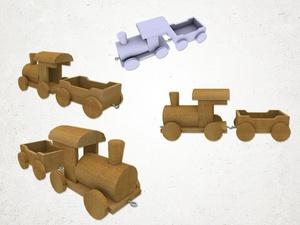 Wooden Train - 3D Model
