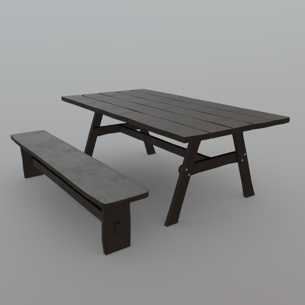 Bench and Table - low poly PBR 3d model