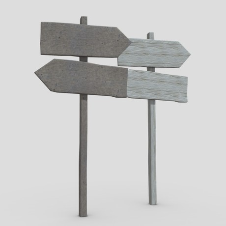 Wooden Sign 2 - low poly PBR 3d model