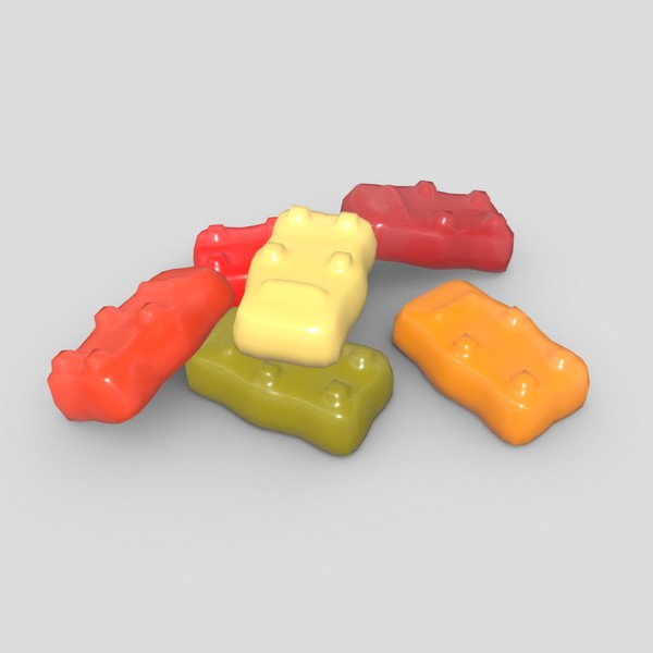 Jelly Bear - low poly PBR 3d model