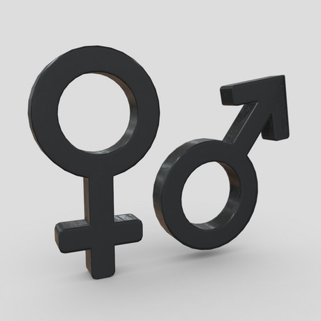 Gender Symbols - low poly PBR 3d model