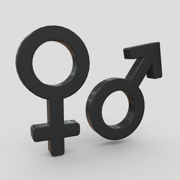 Gender Symbols - low poly PBR 3d model