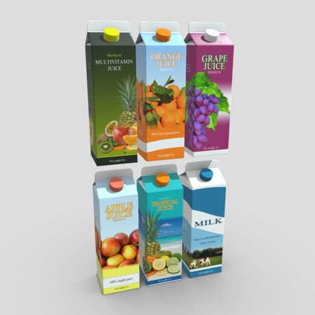 Juice Carton Pack - low poly PBR 3d model
