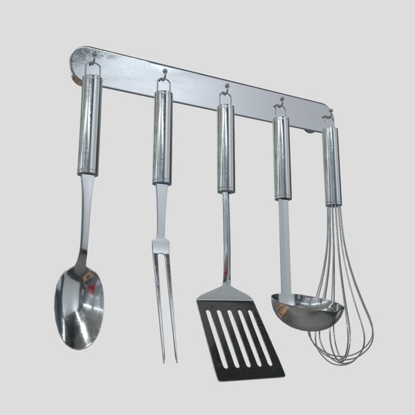 Kitchen Utensil Rack - low poly PBR 3d model