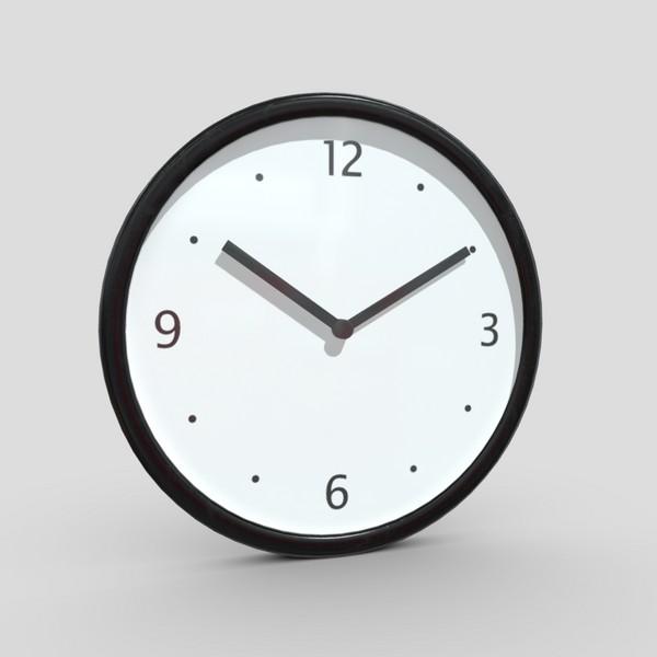 CC0 - Wall Clock 3 - low poly PBR 3d model