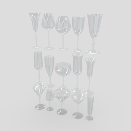 Cocktail Glass Pack - low poly PBR 3d model