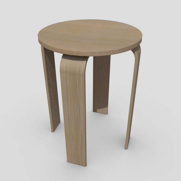 Stool - low poly PBR 3d model