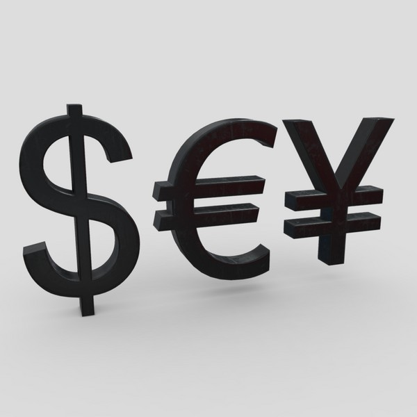 Currency Symbols - low poly PBR 3d model