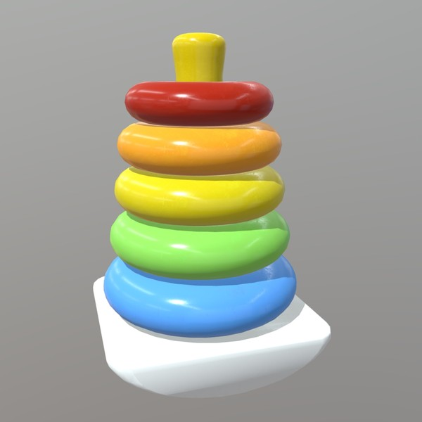 Toy Pyramid - low poly PBR 3d model