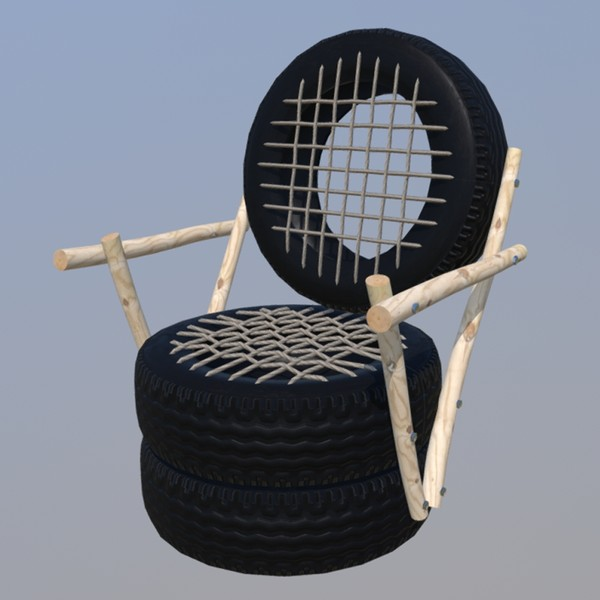 Tire Chair - PBR 3D Model