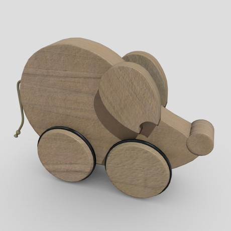 Wooden Mouse Toy - low poly PBR 3d model