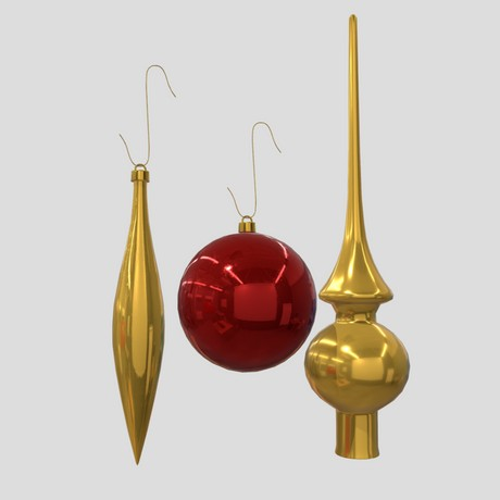Christmas Bauble 3 - low poly PBR 3d model
