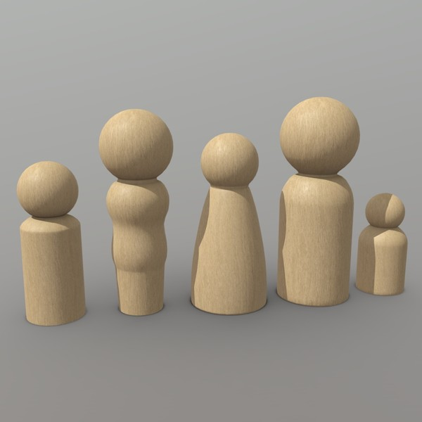 Wooden Toy People 2 - low poly PBR 3d model
