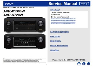 Denon AVR S720W X3100W Network A/V Receiver Original Service Manual