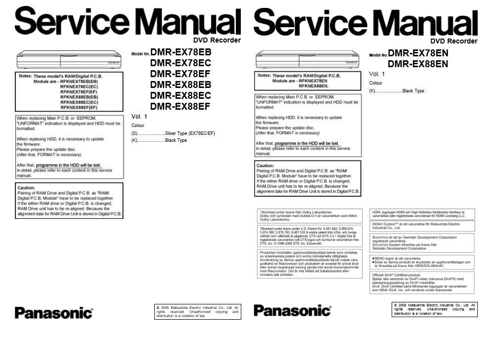 Panasonic DMR EX78 EX88 DVD Recorder Service Manual