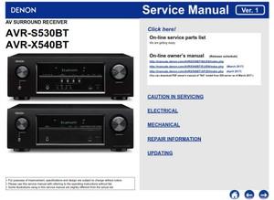 Denon AVR S530BT X540BT AV Receiver Service Manual and Repair Instructions