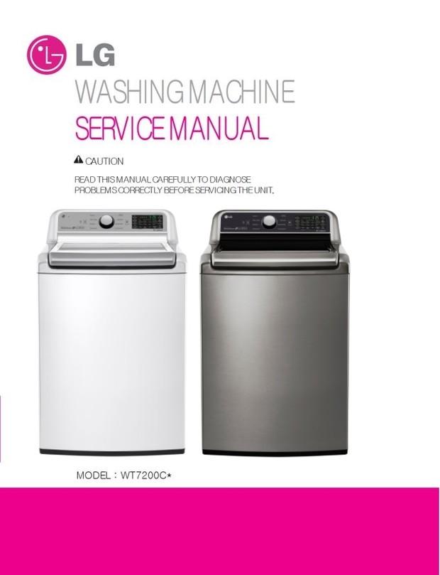 LG WT7200C WT7200CW WT7200CV Washer Service Manual + Parts Catalog