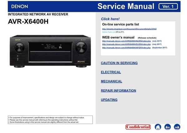 Denon AVR X6400H original service manual and repair instructions