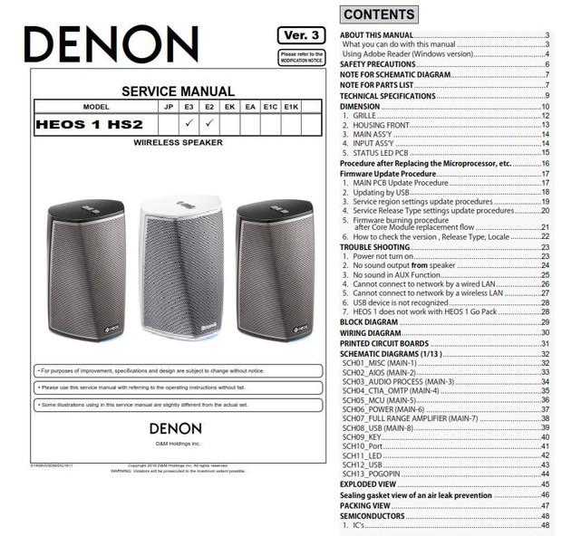 Denon HEOS 1 HS2 Wireless Speaker System Service Manual